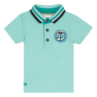 Baby boy's piqué knit polo shirt with motif on the back