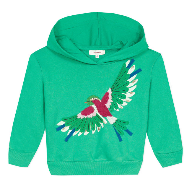 CATIMINI Girl's hooded sweatshirt with 3D bird motif