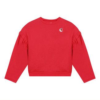 Girl's cropped plain fleece sweatshirt