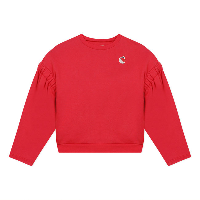Girl's cropped plain fleece sweatshirt