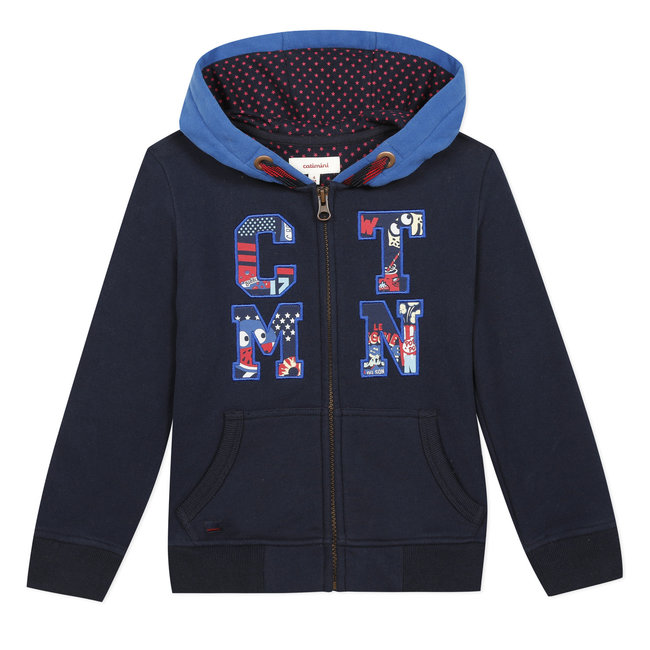 Boy's zipped fleece sweatshirt with patches