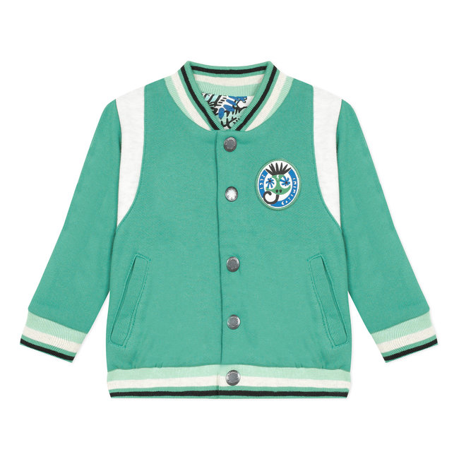 Baby boy's minty green reversible printed jersey and fleece cardigan