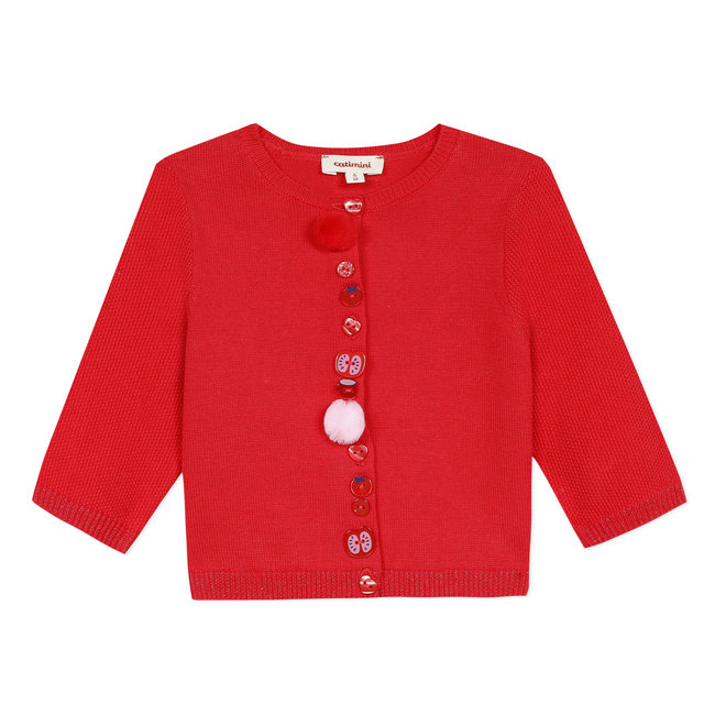 Baby girl's cherry red knitted cotton cardigan