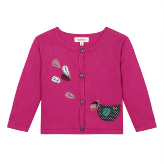 Baby girl's pink knit cardigan with 3D motifs