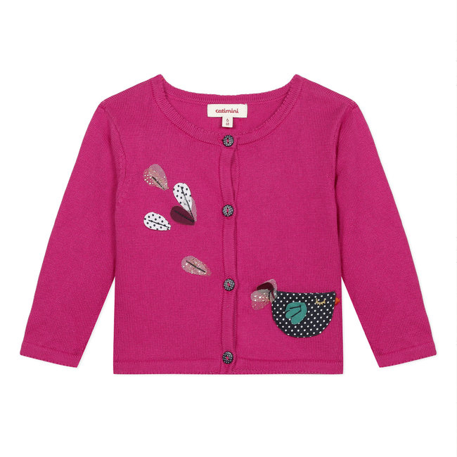 CATIMINI Baby girl's pink knit cardigan with 3D motifs
