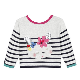 Baby girl's knitted heads and tails cardigan with jacquard design and stripes