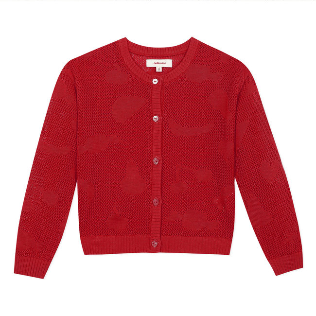 Girl's cherry red openwork knitted cardigan