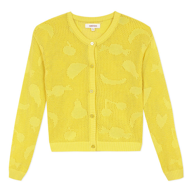 Girl's pollen yellow openwork knitted cardigan