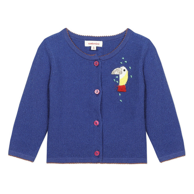 Baby girl's blue iridescent knitted cardigan with embroidery