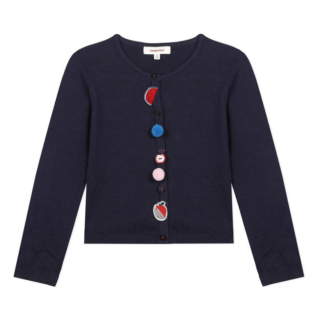 CATIMINI Girl's inky blue knitted cotton cardigan