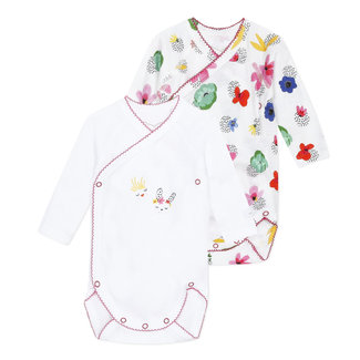 Pack of 2 crossover bodysuits with floral motif for baby girls