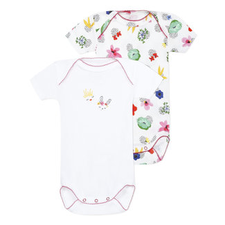Pack of 2 envelope neck bodysuits with floral print for baby girls