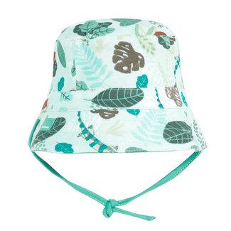 Baby boy's green reversible jersey sun hat