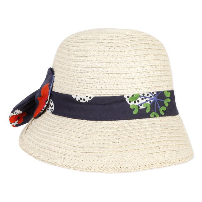 Baby girl's ribbon-trimmed straw hat