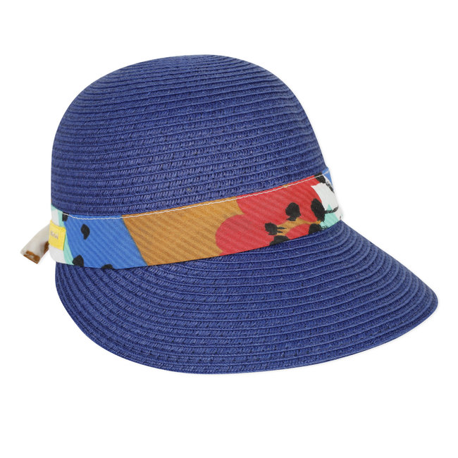 Girl's straw hat with printed ribbon