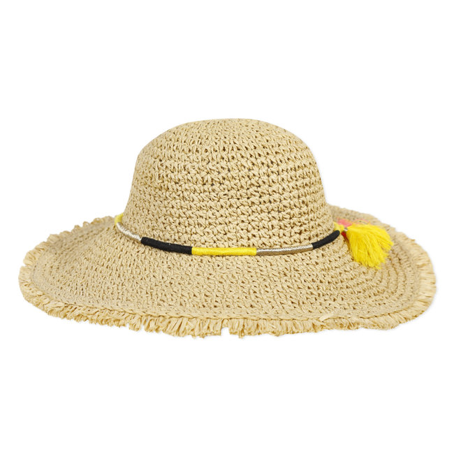 Girl's straw hat with coloured pompoms
