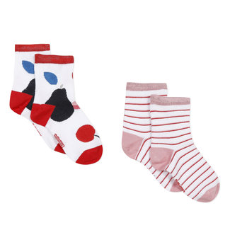 Pack of 2 pairs of girl's colourful socks