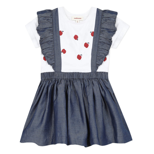 CATIMINI Baby girl's Tencel apron dress and T-shirt