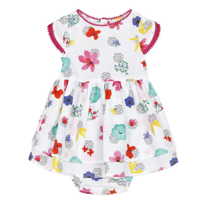 CATIMINI Baby girl's printed percale dress and bloomers