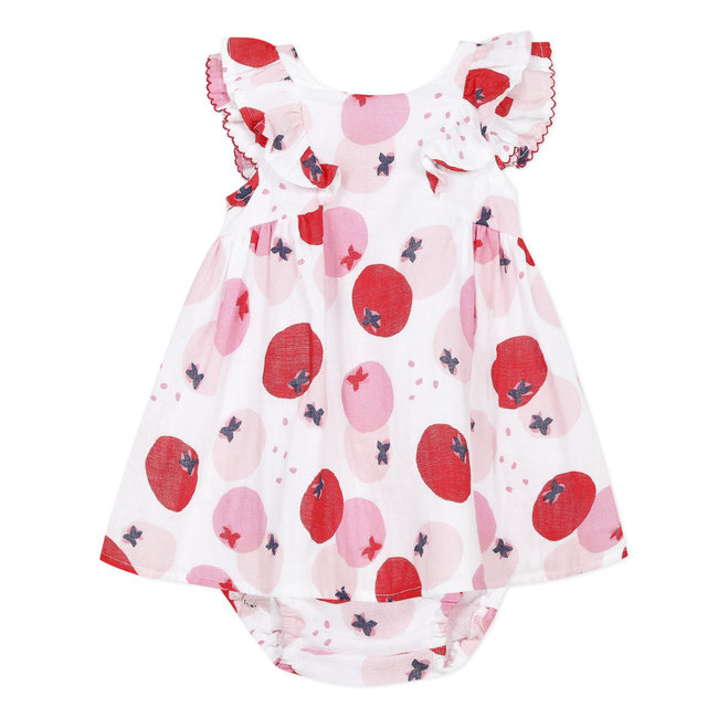 Baby girl's printed cotton dress and bloomers