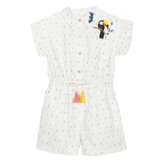 Girl's multicoloured dotted Swiss playsuit