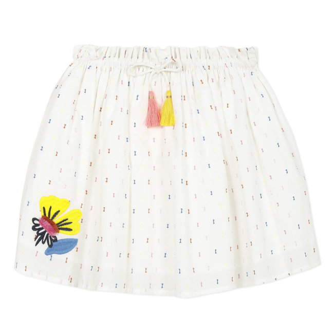 Girl's multicoloured embroidered dotted Swiss skirt