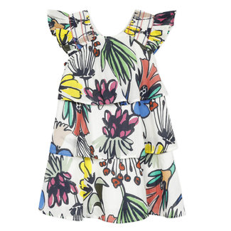 Girl's printed ruffled percale dress