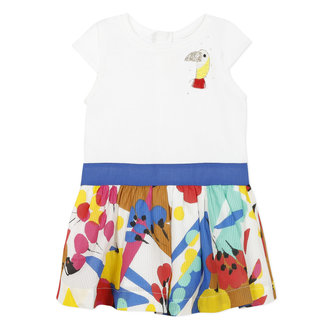 Printed jersey and percale two-fabric dress for baby girls
