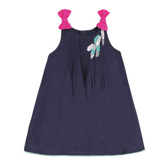 Baby girl's inky blue dotted Swiss percale dress