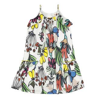 CATIMINI Girl's printed ruffled long percale dress