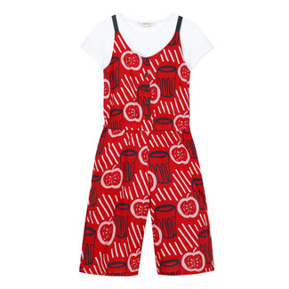 Girls printed voile jumpsuit and white T-shirt