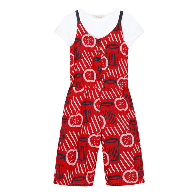 CATIMINI Girls printed voile jumpsuit and white T-shirt