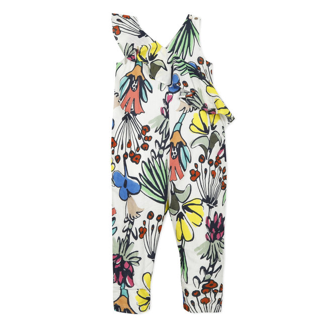 Girl's printed percale dungarees