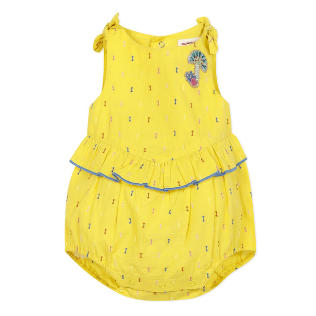 Short dotted Swiss romper for baby girls