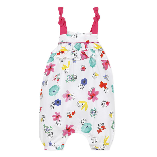 CATIMINI Baby girl's printed cotton percale romper