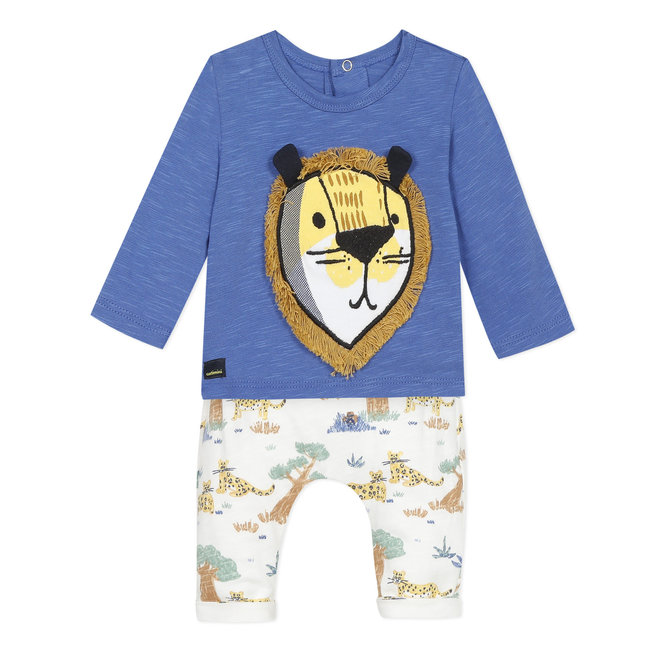Baby boy's slub jersey T-shirt and terry trousers