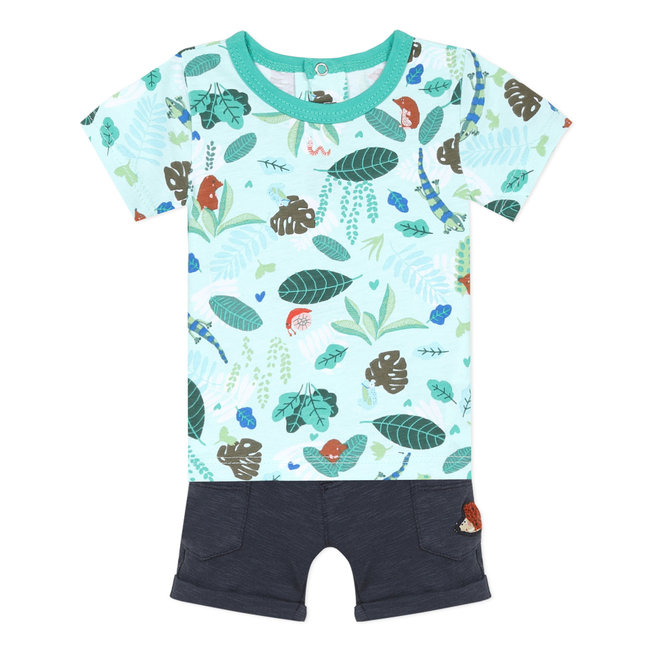 Baby boy's jersey T-shirt and fleece Bermuda shorts