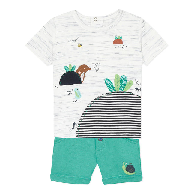 Baby boy's jersey T-shirt and Bermuda shorts