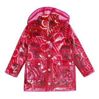Girl's 2-in-1 coated rubber raincoat with print