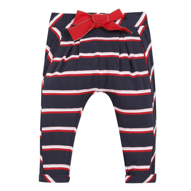 Baby girl's striped piqué knit trousers with bow