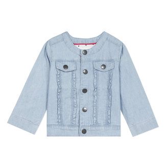CATIMINI Baby girl's lightweight fancy denim jacket with embroidery on the back