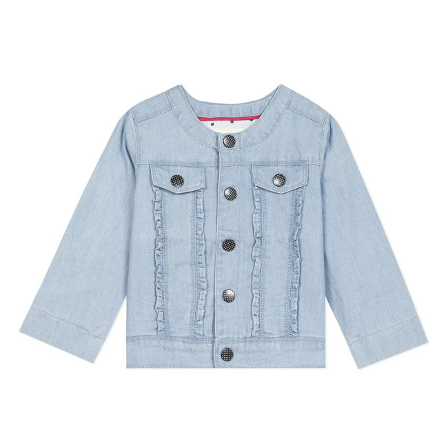 Baby girl's lightweight fancy denim jacket with embroidery on the back