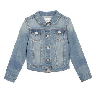 Girl's denim jacket with embroidery on the back