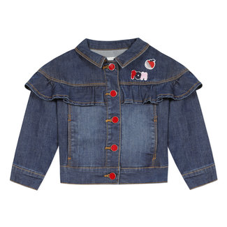 Girl's jean jacket with ruffle and badges