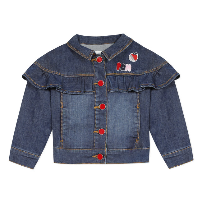 CATIMINI Girl's jean jacket with ruffle and badges