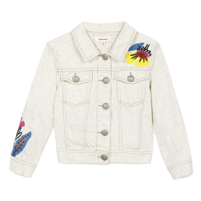 CATIMINI Girl's beige embroidered denim jacket