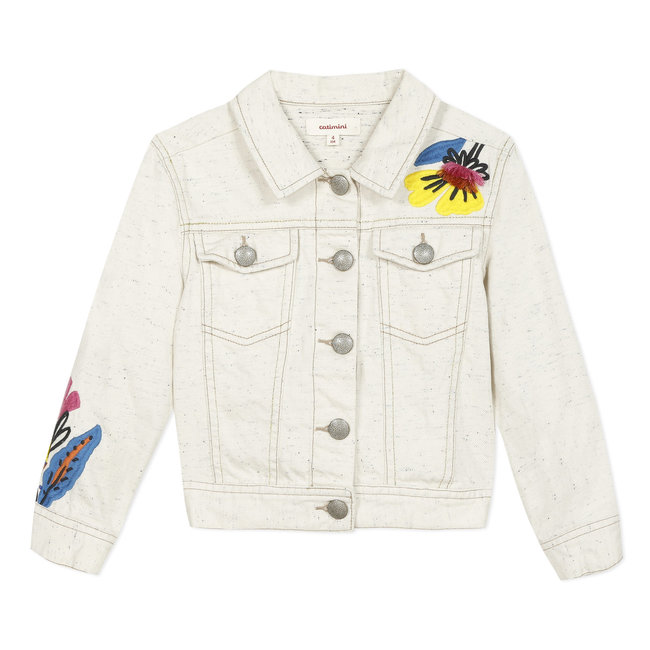 Girl's beige embroidered denim jacket