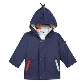 Baby boy's 3D crocodile-effect rubber raincoat