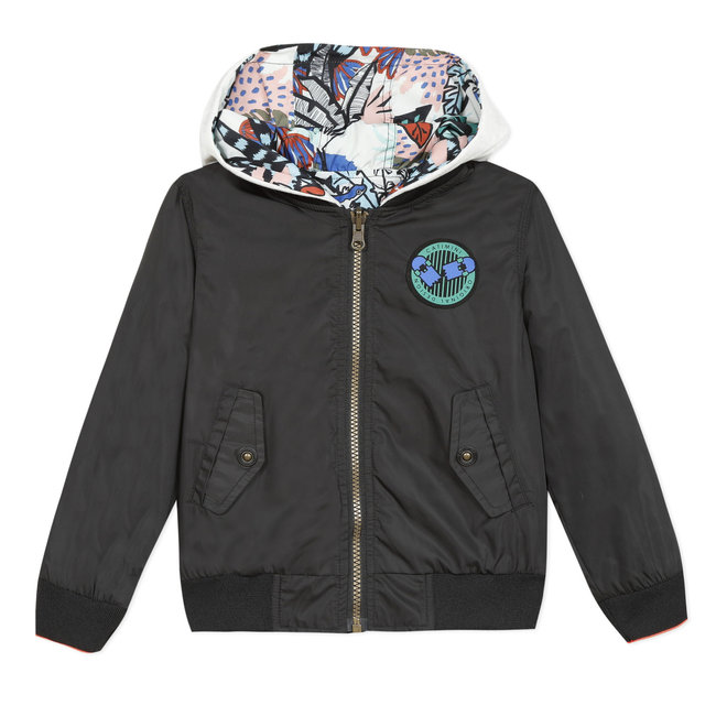 Reversible children's jacket, black and printed
