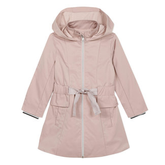 Girl's pink iridescent gabardine trench coat